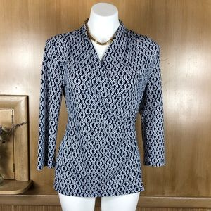 Ann Taylor Blue White Print Faux Wrap Blouse